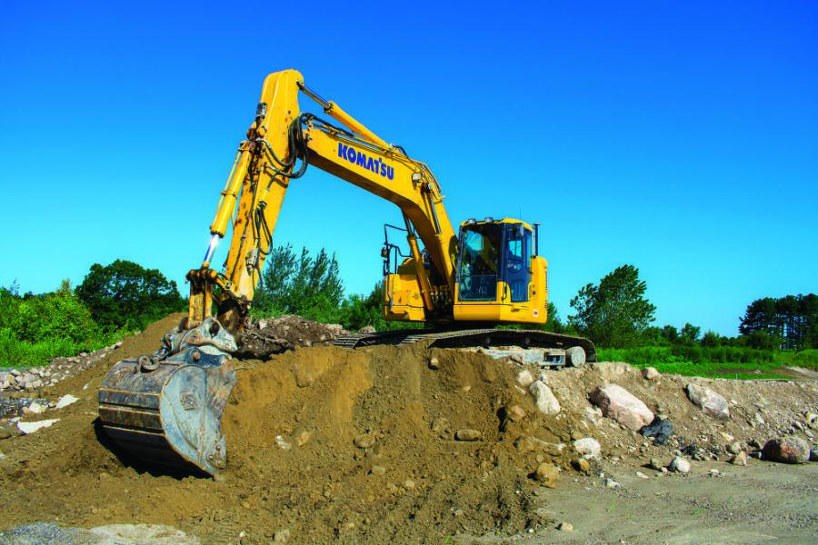 At a project in Hopkinton, Mass., an Emerald Excavating operator put a Komatsu PC238USLC excavator to work moving material.