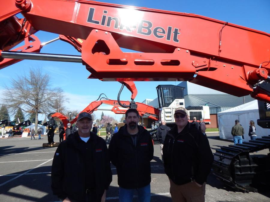 (L-R): Retired President, current board member of Triad Machinery, Doug Summers, Portland, Ore., with Link Belt Excavators Regional Manager Chad Kline, and Product Support Manager Justin Conn, Lexington Ky., fronting a LBX 3740 Excavator.