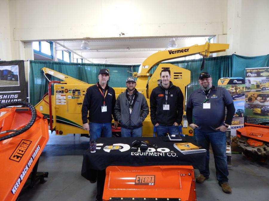 (L-R): At the RDO booth stands Ollie Windle, general manager of Vermeer at RDO Equipment Co., Portland, Ore., with Chris Stanley, core accounts manager of RDO Equipment Co., Eugene Ore., Nate Hagen, sales manager of Eterra USA, Bellingham, Wash., and Russell Stippel, a member of the sales team of Skid Steer Solutions, also located in Bellingham, Wash.