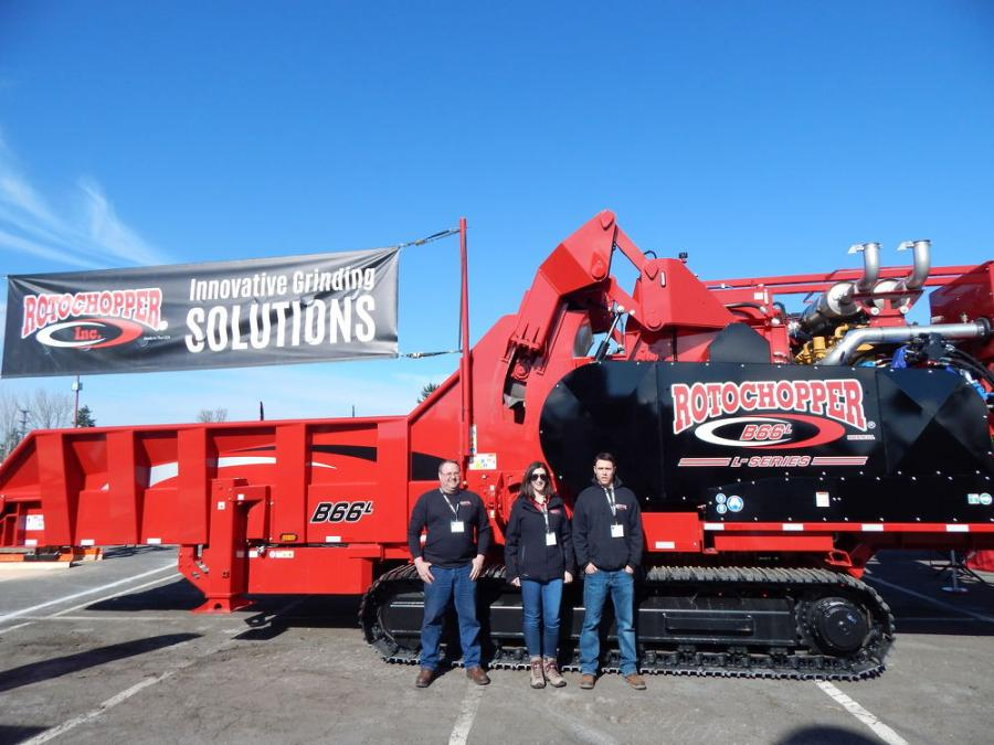 (L-R): Rotochopper, St. Martin, Minn., Demo Technician Jesse Thelen, Marketing Specialist Erin Pearson and US Pacific Northwest Regional Sales Rep. CJ Cox with the impressive B-66 L-Series horizontal grinder, which has raised the bar as the most advanced fiber processing system on the market. This grinder is designed to meet the needs of grinding larger, more abrasive materials and has been engineered to increase overall production rates with unmatched efficiency.