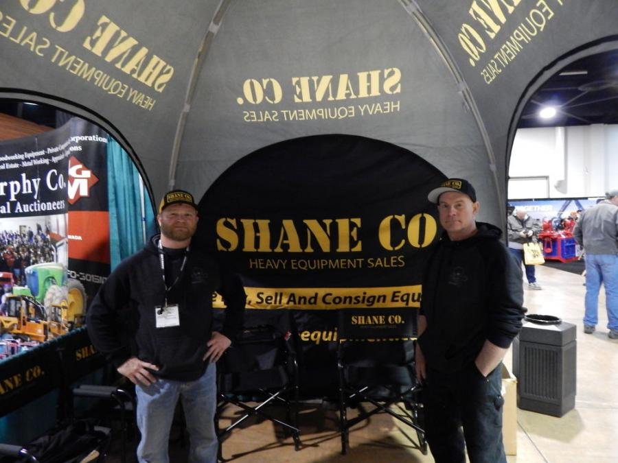 """Shane Co. Equipment specializes in used heavy equipment, forestry and trucks. (L-R): Owner Shane Burrill and Sales & Marketing Manager Jeff Estill look forward to a great show. Shane says, """"We buy, sell, and consign heavy equipment and ship worldwide, give us a call and see what we can do for you."""""""