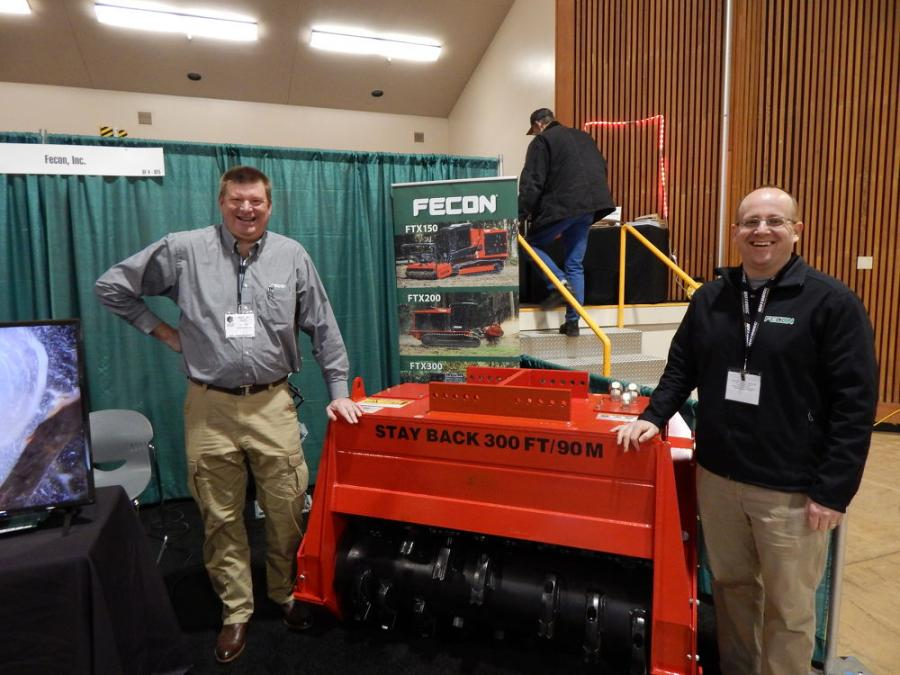 (L-R): Regional Manager Brian Kile of Fecon, located in Lebanon, Ohio, and Division Sales Manager Matt Warfel and their popular FTX attachment line at the OLC.