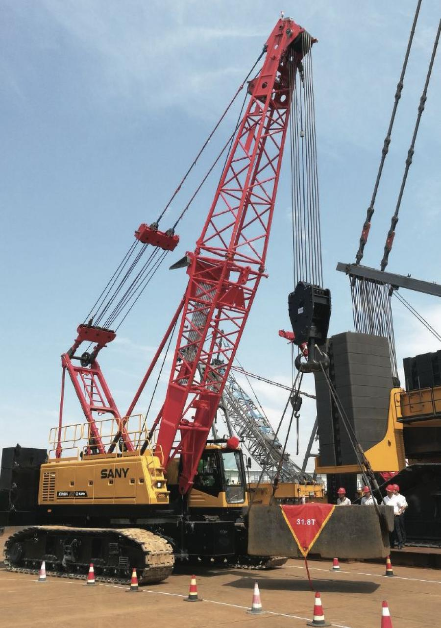 SANY's SCA1000A and SCA2600A lattice boom crawler cranes were shown at ConExpo 2020.