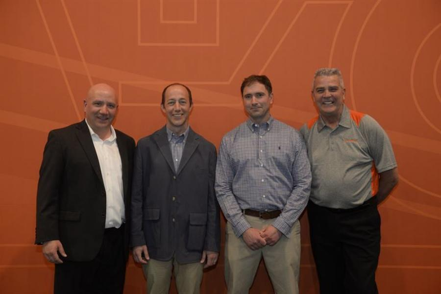 (L-R) are Antonio Lorusso, owner, S.M. Lorusso and Sons and Cape Cod Aggregates; Paul Lorusso, owner, Cape Cod Aggregates; Jason Whitney, owner, Whitney and Son Inc.; and Eric Bjornson, distribution manager of Eastern USA, Metso.