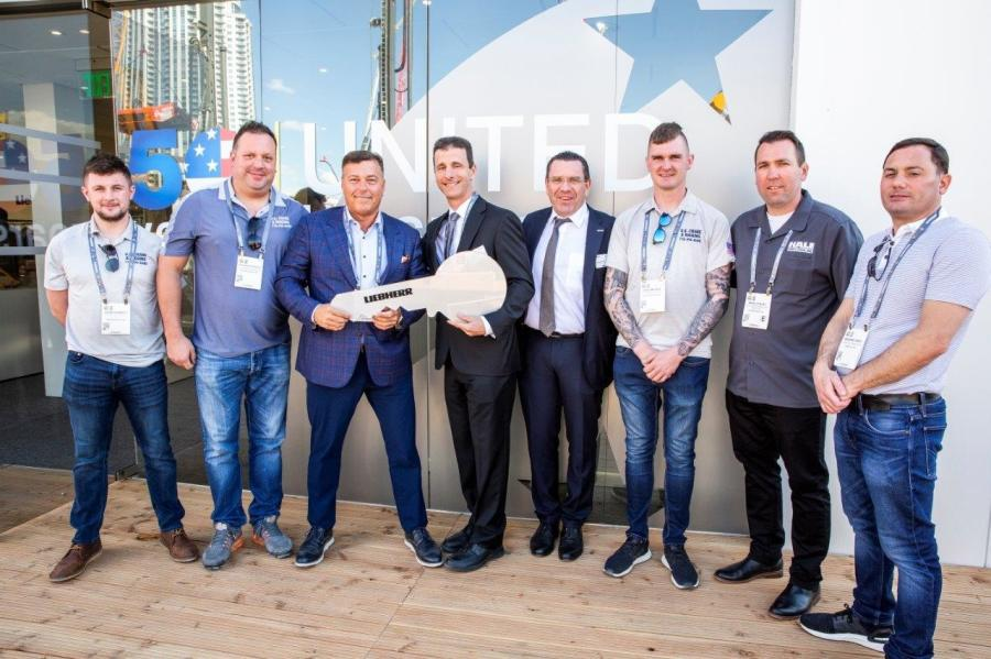 (L-R) are: Aiden Doherty, Richard Petrosa II and Thomas Auringer, all of  US Crane; James Rex and Christoph Kleiner, both of Liebherr; Declan Loye, US Crane; Marc Staley, Hale Trailer; and Massimo Greci, Gabriella Truck Sales.