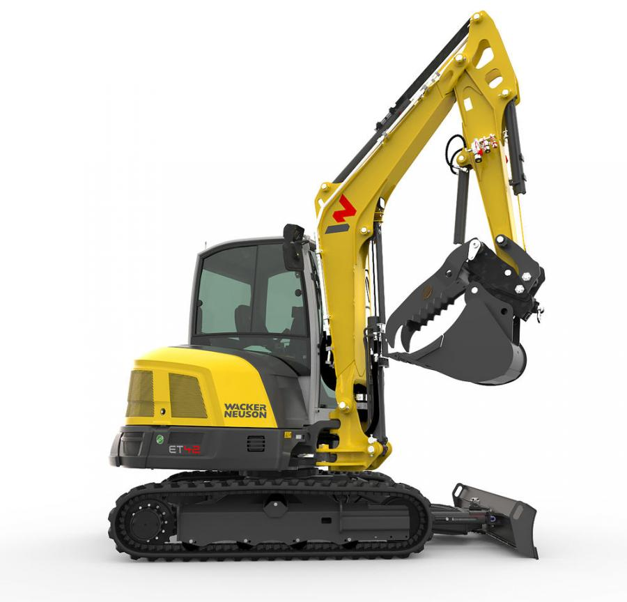 Wacker Neuson's ET42 offers the same three-point bucket linkage that can be found on the company's larger models. This kinematic linkage system offers a 200-degree angle of rotation that combines enhanced breakout force with a greater range of motion.