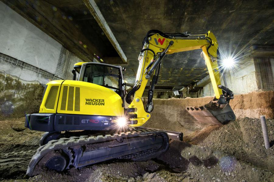 Wacker Neuson's 9-ton, ET90 compact tracked excavator can be configured with an optional triple boom, with the same benefits realized on the mobile excavators.