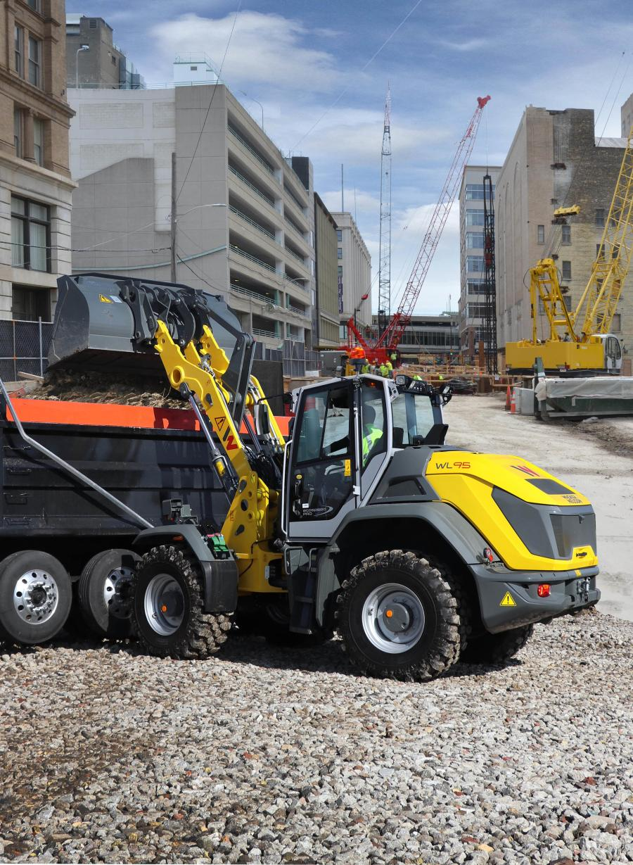 The WL95's variable hydrostatic transmission provides excellent traction and high travel speeds (12.4 mph). With a standard 2-cu. yd. bucket and straight bucket tipping load up to 14,394 lbs., the WL95 is capable of moving greater material loads quickly.
