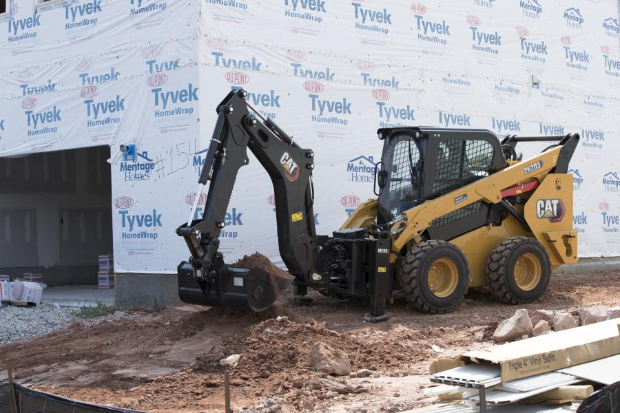 The new Cat BH130 SMART backhoe attachment is designed for Cat D3 Series skid steer loaders, compact track loaders and multi-terrain loaders.