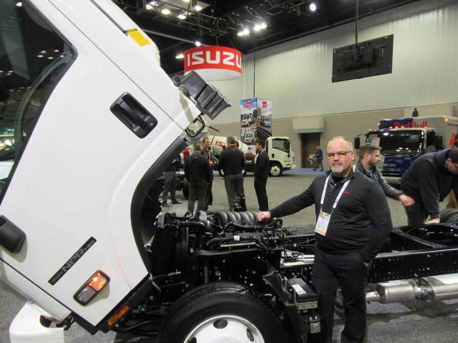 Isuzu Commercial Truck of America's Tom Leslie was on hand to discuss his company's introduction of Class 5 gasoline-engine models and innovative driver assist features.