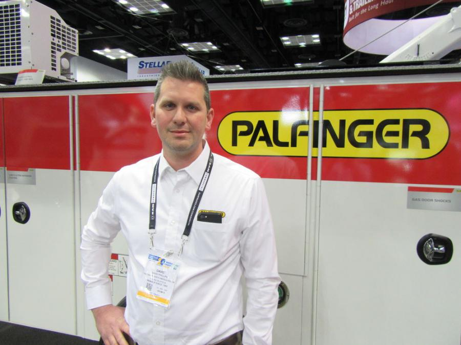 David Phillips of Palfinger North America spoke with attendees about the company's PAL Pro 43 mechanics truck, offering the payload and storage typical of a class 7 or 8 truck in a class 5 or 6 truck.
