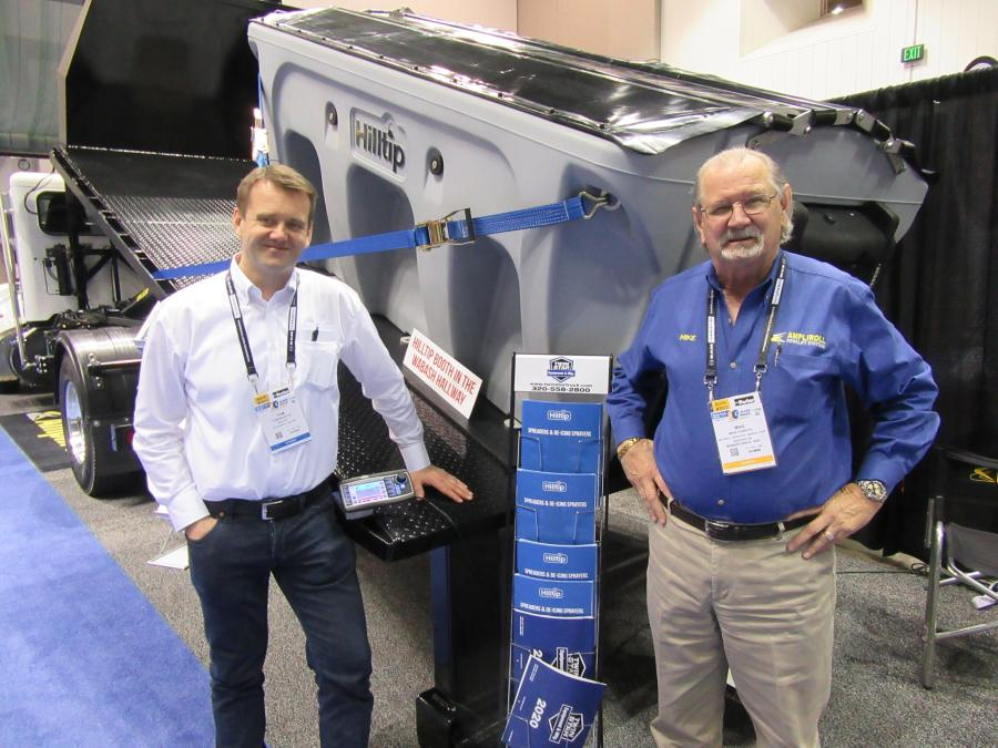 Hilltip CEO and co-founder, Tom Maenpaa (L), joined Mike Forsyth of Ampliroll Hooklifts/Marrel Corp., who came in from Finland to promote his company's launch into the United States market and showcase his company's line of poly and stainless steel salt spreaders.