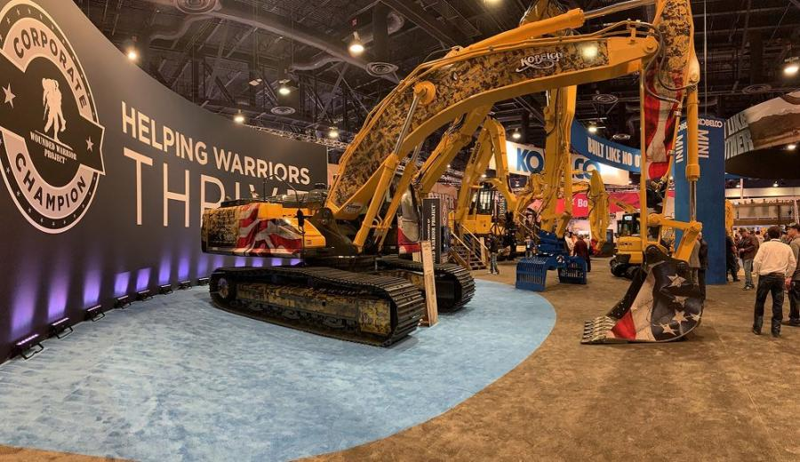 The Kobelco SK350LC-10 Wounded Warrior Project tribute excavator.