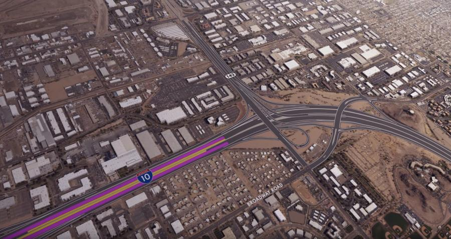 The project includes adding traffic lanes and building new bridges on parts of an 11-mi. stretch of Interstate 10.