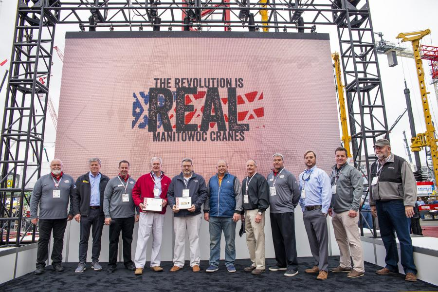 (L-R) are Keith Crider, Manitowoc; Kevin Robbins, Ring Power Corporation; Mike Herbert, Manitowoc; Dave Glass and Karl Minzenberg, Ring Power Crane; David Alban, Ring Power Corporation; Adam Whittaker, Ring Power Crane; Mike Warner, Manitowoc; Hague Palmer, Mark Buter and Paul Lussier, Ring Power Crane.