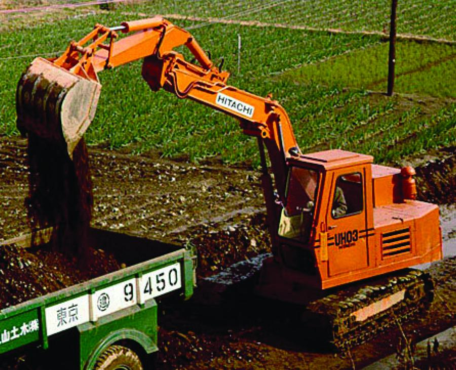Hitachi's first hydraulic excavator: the UH03, in 1965.