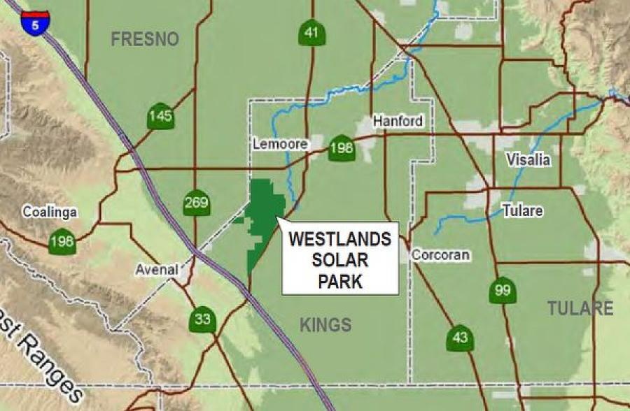 A map view of where the Westlands Solar Park will be built.