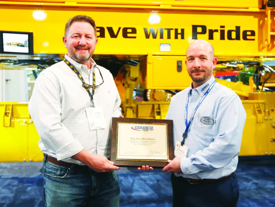 Pat Slattery (L), ROMCO Equipment Company, and Bryan Beck, GOMACO Southwest United States district manager.