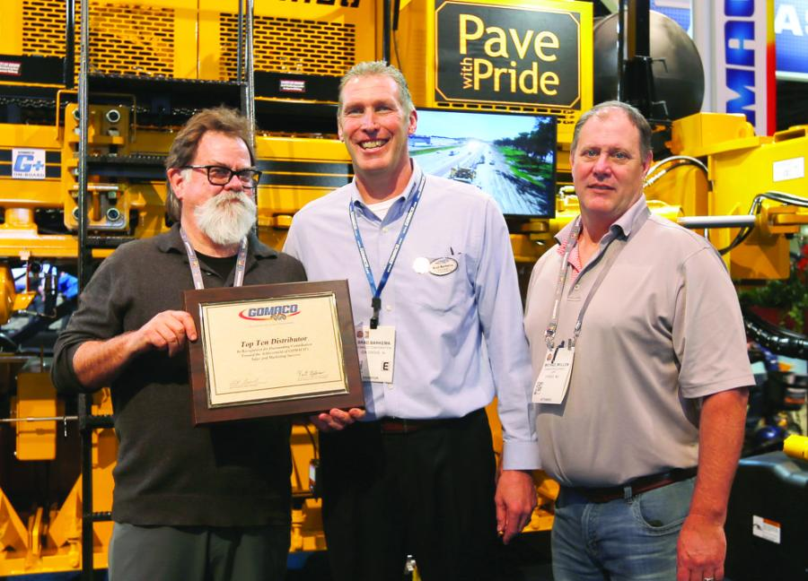 (L-R) are Mike Swanston, Swanston Equipment Company; Brad Barkema, GOMACO North Central United States district manager; and Mike Mullen, Swanston Equipment Company.