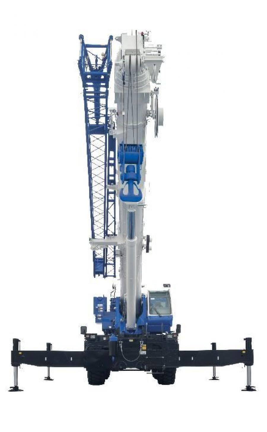 The Tadano GR-1600-XL rough terrain crane offers a hydraulic offset jib can be adjusted between 5 to 40 degrees by the jib tilt cylinder.