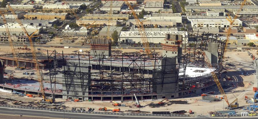Here, early parts of construction are underway at the new Las Vegas Raiders stadium.