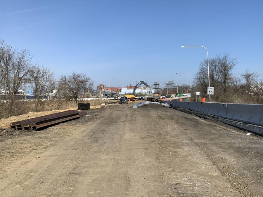 Looking north on SR 141. As part of Phase 1, crews will widen SR 141 at Commons Boulevard to provide additional through lanes and a triple left turn from Commons Boulevard. Crews are also reconstructing the SR 141 bridges over southbound I-95. The site runs from Jay Drive to Airport Road.