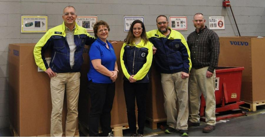 Volvo Core Values team (L-R) are Jean Charles Lambotte, production quality director; Mary Reid, environmental consultant; Mariana Donnelly, core values director; Rich Halter, safety and environmental manager; and John Horner, waste management consultant.