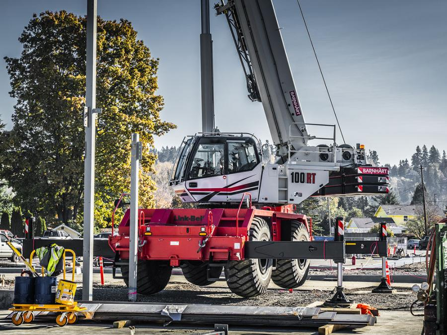 Equipped with Link-Belt's SmartFly system, the fly on the new 100RT rough-terrain crane can be installed by one person from the ground in about five minutes. Its interlock feature simplifies the fly installation process, and minimizes the need for personnel to work from a ladder.
