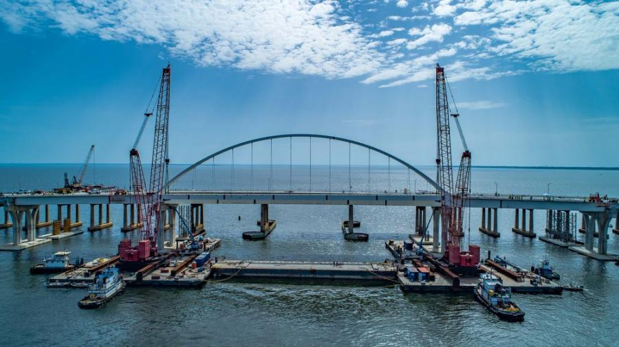 The $427 million project, expected to be completed in fall 2021, will see the construction of two 4.169-mi. long east-west bridges to replace the aging Sen. Philip D. Beall Sr. Memorial Bridge.