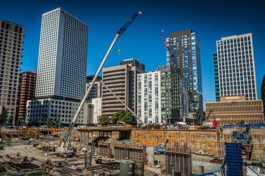 Multiple Link-Belt cranes work in downtown Seattle.