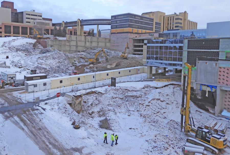 Crews demolish a parking garage on Essentia Health's medical campus in downtown Duluth, Minn. A new hospital and clinic space are under construction. (Essentia Health photo)