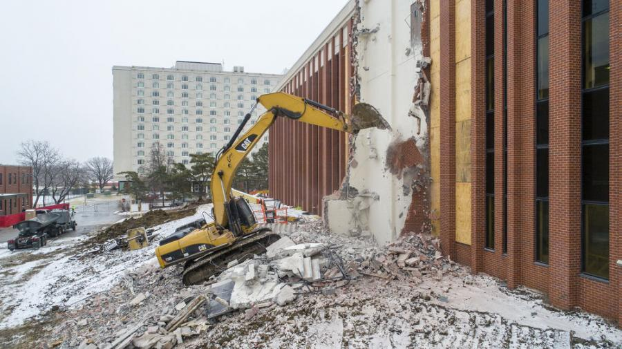 At the University of Nebraska-Lincoln, construction crews have successfully completed demolition of the Link between Scott Engineering Center and Nebraska Hall. 