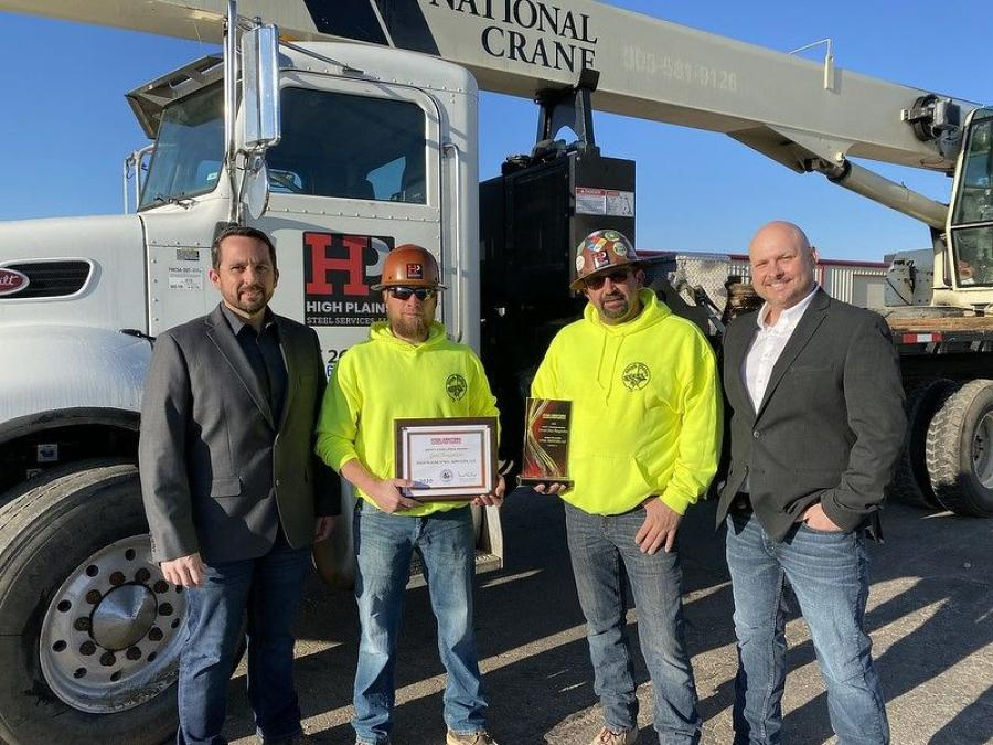 High Plains Steel Services received both Safety Excellence and Craft Training awards. (L-R) are Kris McLean, Mike Hurst and Jay McLean of High Plains Steel Services; and Bryan McClure, Trivent Safety Consultants and chairman of SEAA's safety and education committee.