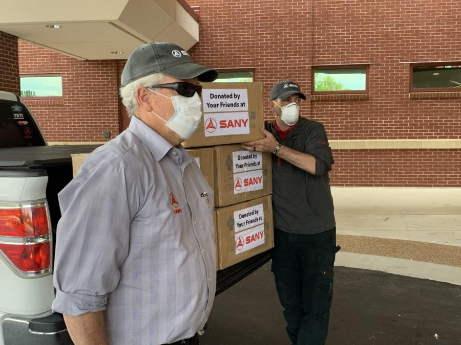 Through its corporate contacts, SANY America was able to source medical-grade disposable facemasks, which the company donated to local emergency personnel.