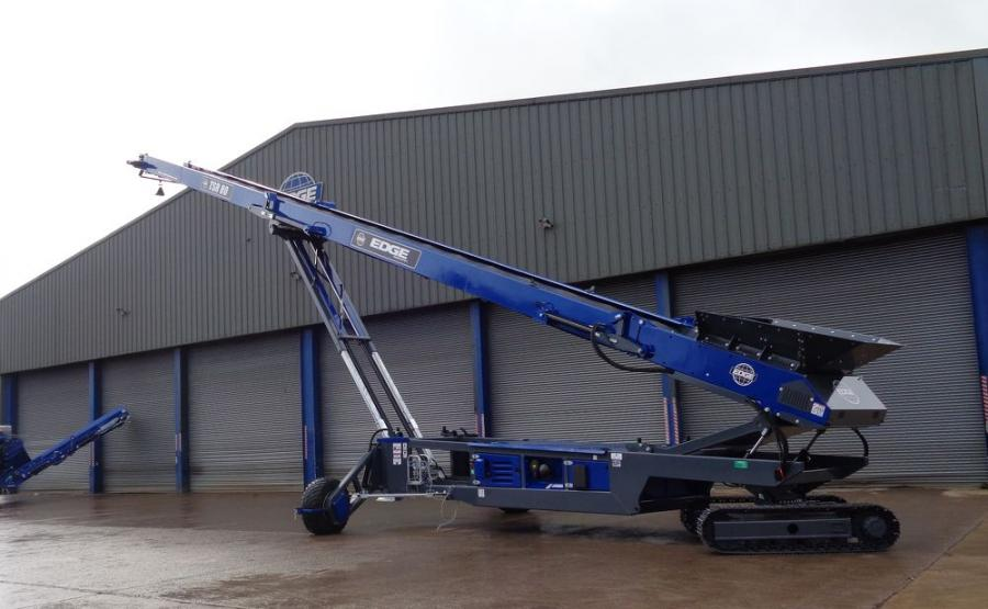 The Edge TSR80 is an 80 ft. long tracked mounted conveyor with radial stockpiling functionality.