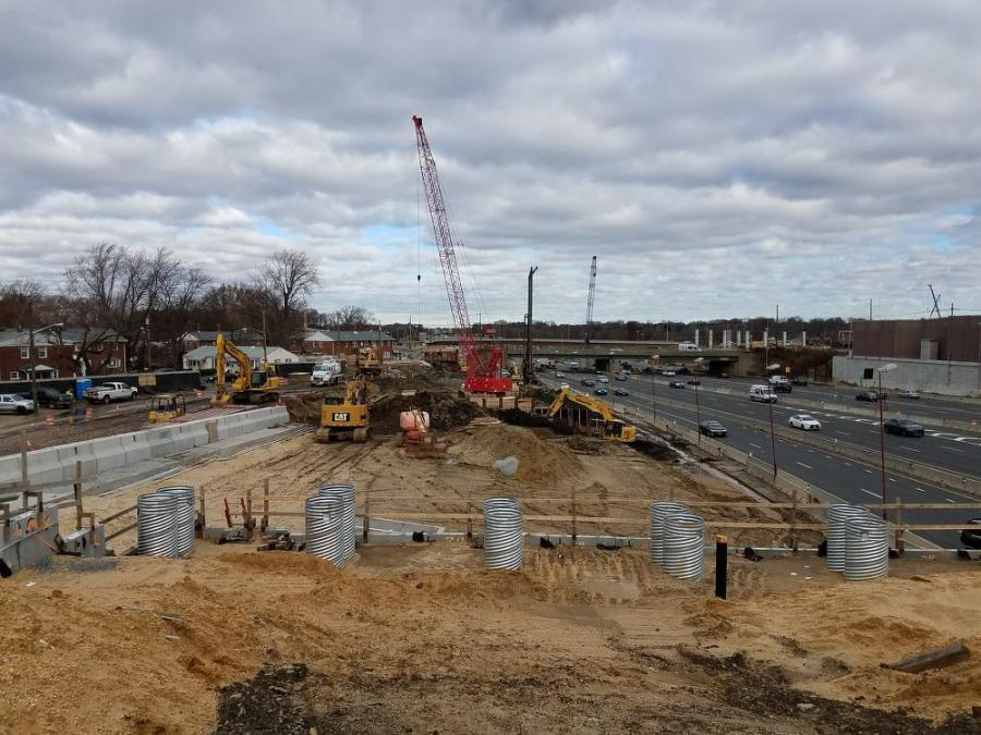 Looking north at work to build new lanes for I-295 SB. Route 42 is on right side. The new Browning Road bridge is the higher span in the background.