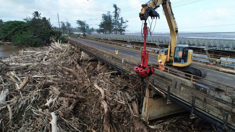 Cushnie used two excavators and a fleet of trucks to remove tons of debris that had washed down the river and compromised the integrity of Kauai's Wailua Bridge.