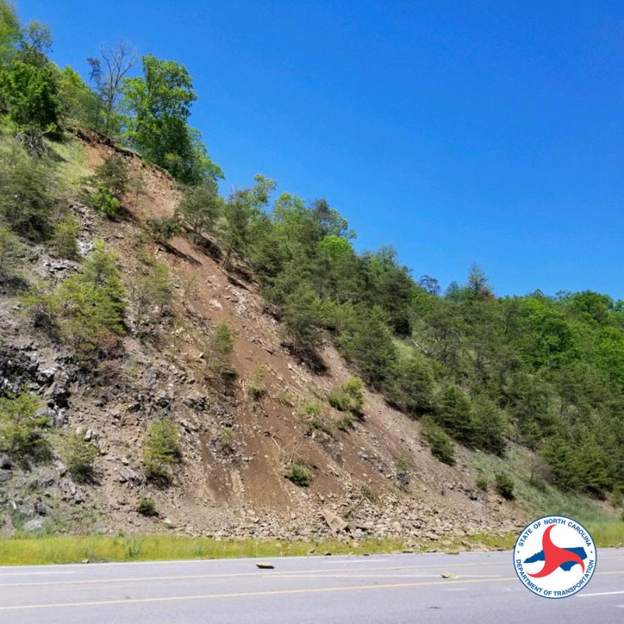 An active rockslide has closed U.S. 25/70 in Madison County. The detour utilizes Interstate 26 and N.C. 213. (NCDOT photo)