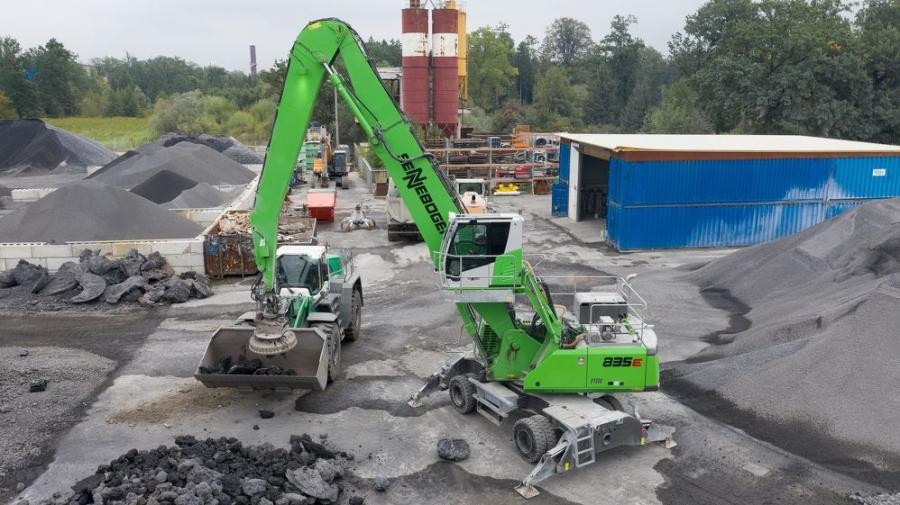 From his position in the hydraulically raised Maxcab, the operator has a bird's eye view of the work area.