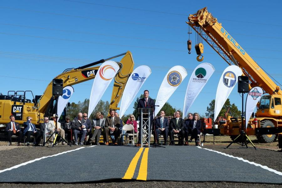 Oklahoma Gov. Kevin Stitt speaks at a groundbreaking ceremony on Tuesday for the Gilcrease Expressway Extension. The 5-mi. toll road will finish a highway loop through west Tulsa.