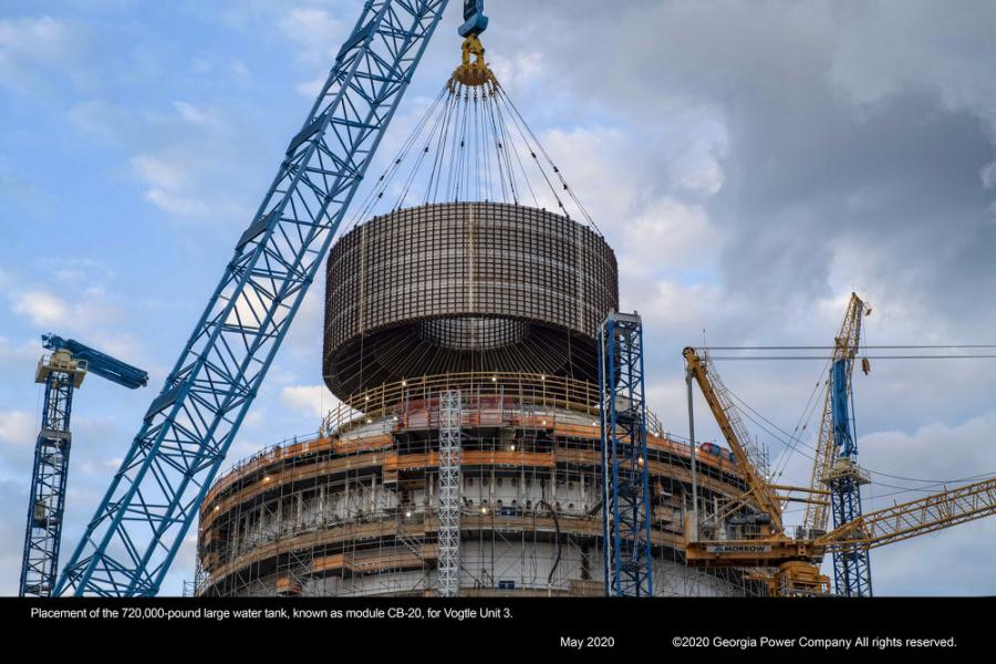 Placement of the 720,000 lb. large water tank, known as module CB-20, for Vogtle Unit 3. (Georgia Power Company photo)