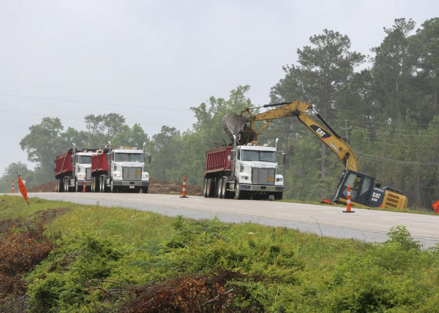 Clearing of the right of way on U.S. 49 is almost complete, and work on the drainage system is under way.