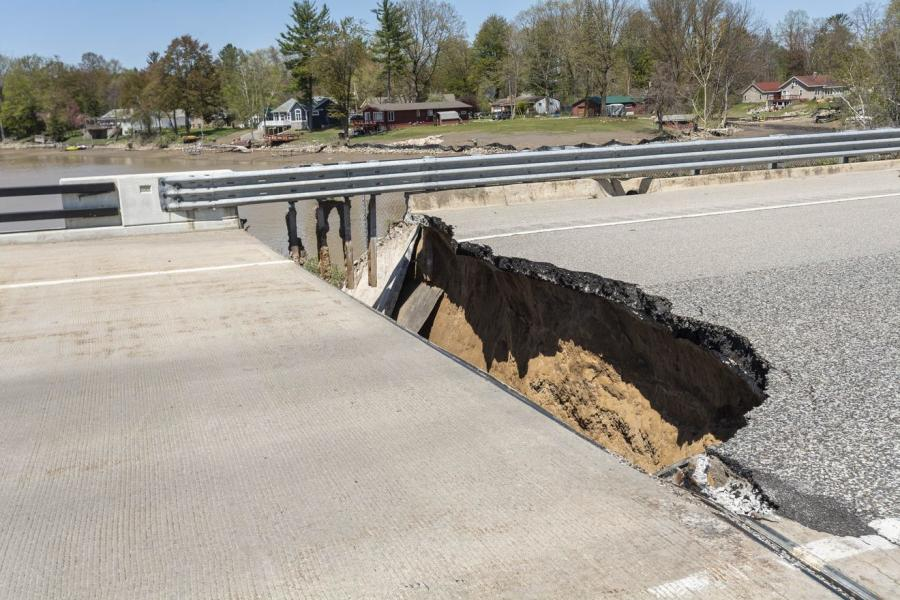 The U.S.-10 bridges at  Sanford Lake suffered  extensive damage during the  May floods. Bridge approaches  were washed away and undermining occurred, impacting the stability of the bridge, piers and abutment walls.