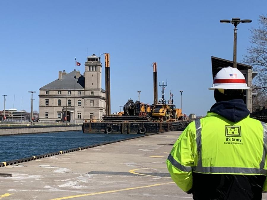 The New Lock at the Soo project is on schedule as construction for phase one of the project is under way. Trade West Construction Inc. began to move equipment to the site on May 4. (USACE photo)