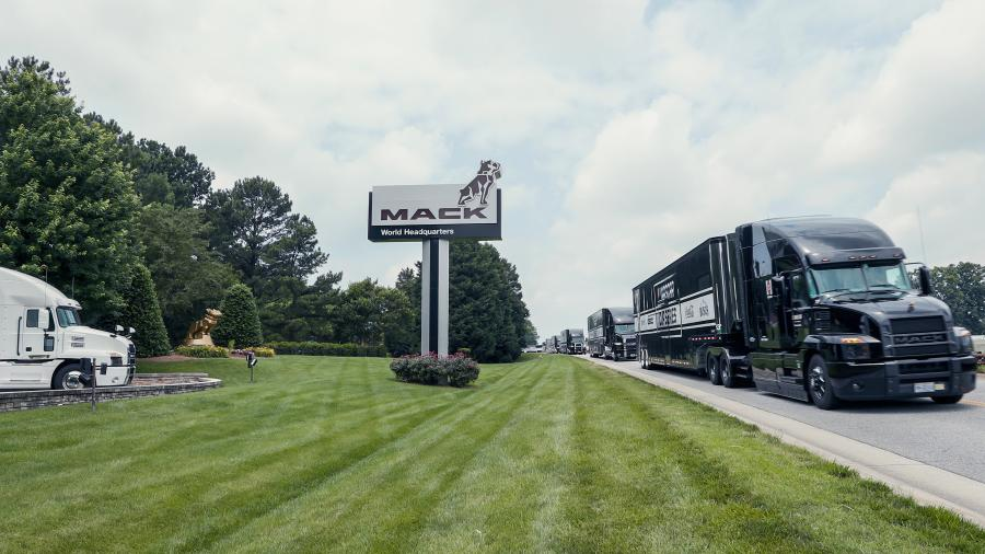 The haulers traveled to Martinsville, Va.-based Sovah Health to thank the frontline workers at the hospital and deliver special Mack-branded merchandise, including hats, ear buds and hand sanitizer.