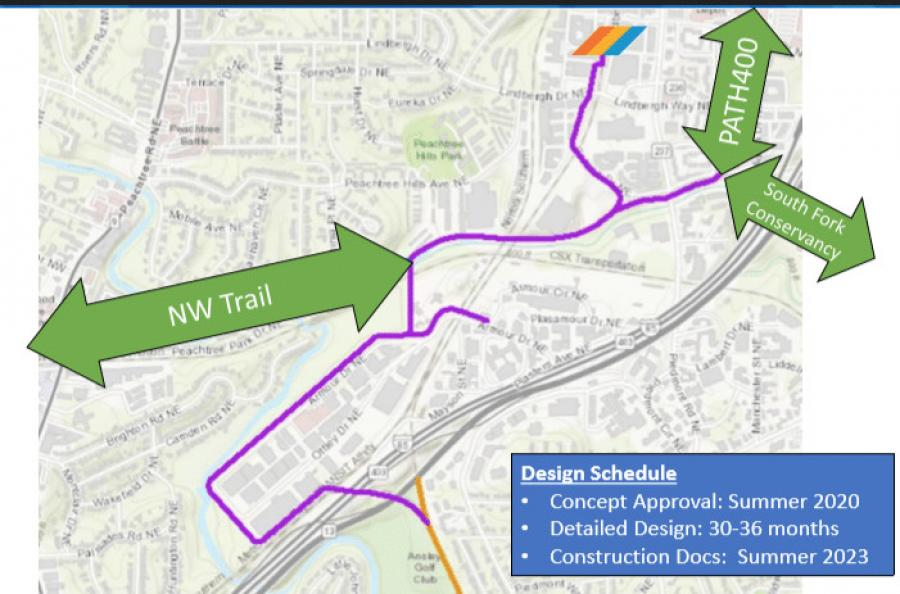 A map of the selected route for the Northeast Trail in southern Buckhead. (Atlanta BeltLine Inc. photo)