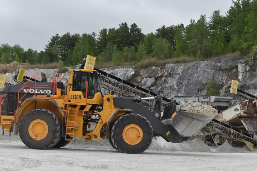 The Volvo L350H is the very latest in Volvo's largest 532 hp. monster-sized quarry loaders and is equipped with a 10.5-yd. bucket.