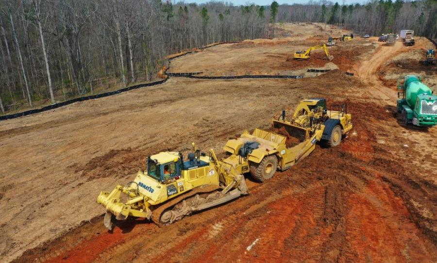 The road closings are part of a three-phased project that will take GA Route 211 around downtown Winder, located northeast of Atlanta, to a bypass ending at GA 316. The new highway work also will includea bridge over GA 8 and the CSX railroad line. (E.R. Snell Contractor photo)