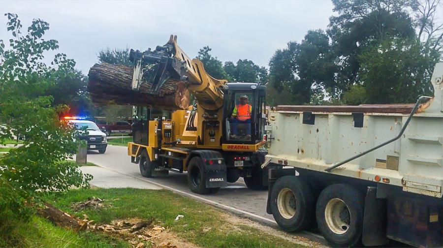 More versatile than a thumb and bucket attachment, Gradall grapple attachments can be used to reach out and remove brush, debris and tree limbs that may block roadways.