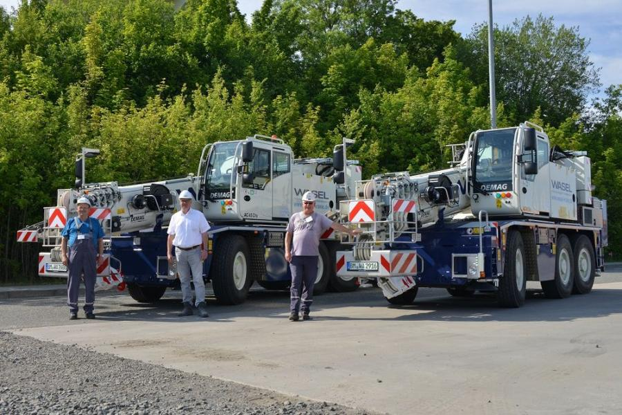 (L-R) are Hans-Joachim Schulz, crane operator, Wasel GmbH; Manfred Drößer, sales manager, Tadano; and Wolfgang Pahl, crane operator, Wasel GmbH.